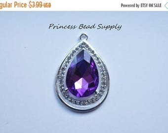 SALE Dark Purple Tear Drop Rhinestone Pendant for Chunky Necklaces, 45mm x 34mm Teardrop Pendant