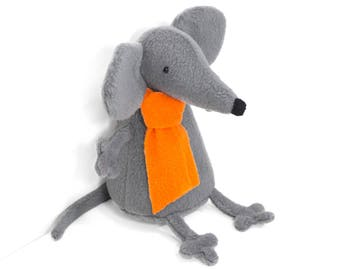 """Stuffed Mouse animal. Rat stuffed. Plush mouse, rat. Grey mouse, rat. Soft toy mouse, gray rat """"Raty"""". Softy rodent. Can be other color."""