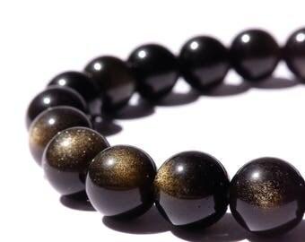 8mm Golden Sheen Obsidian Stretch Bracelet