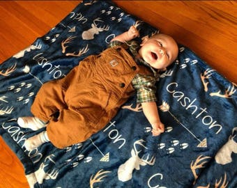 Personalized Baby Blanket Monogrammed Baby Blanket Name Blanket Deer Blanket Antler Arrow Blanket, Woodland Blanket