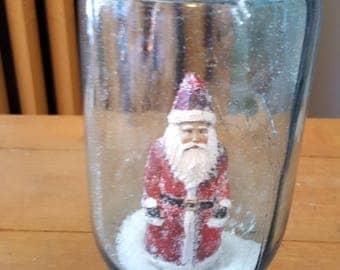 Vintage Blue Mason Jar Waterless Snow Globe Santa