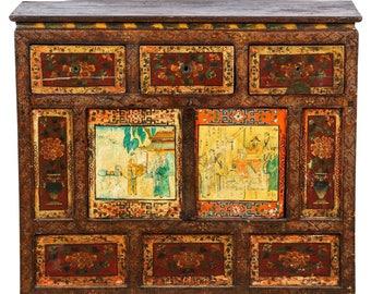 19th Century Tibetan Cabinet, Cabinet, Bar Cabinet, Apothecary Cabinet, Corner Cabinet, Tibetan Cabinet, Storage Cabinet