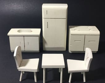 vintage wood dollhouse kitchen set white stove sink table and chairs