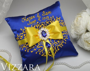 Ring Bearer Pillow Royal Blue Wedding Ideas And Yellow