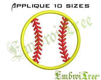 SOFTBALL APPLIQUE DESIGN - Softball Monogram Embroidery Design - Sports Applique - Machine Embroidery