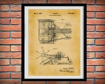 1954 Swather Patent Print - Wind Row Patent Print - Agriculture Wall Art - Tractor - Farming - Farm Equipment Patent