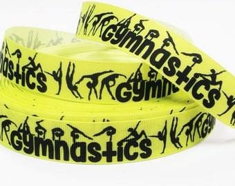 "7/8"" inch Gymnastics Gymnast Black Silhouettes on Yellow Background Sports Printed Grosgrain Ribbon for Hair Bow - Original Design"