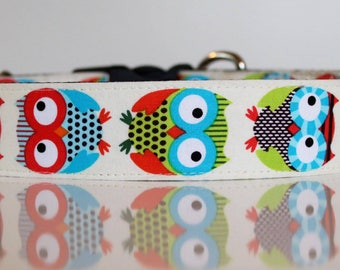 Large Cute and Colourful Owl Dog Collar, Hip Owl Dog Collar, Extra Large Dog Collar, Hipster Dog Collar, Blue Owl Dog Collar, Orange Owl Dog