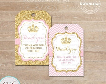 50% OFF SALE Pink and Gold Princess favor tags, Thank you Tags, Gift Favors, Chevron Party Decoration, Party Favors, Printable DIY, Instant
