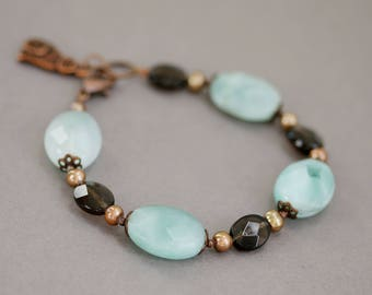 Amazonite, Smoky Quartz, Freshwater Pearls Beaded Bracelet, Precious Stone and Copper Cat Charm Bracelet