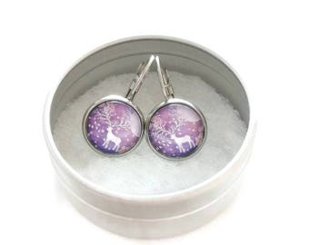 Sleepers cabochons - stem stainless steel - glass 12 mm - earring purple - deer - hypoallergenic / Deer earrings - stainless steel