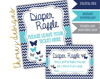 Butterfly Baby Shower Diaper Raffle Tickets and Sign - INSTANT DOWNLOAD - Navy Blue, Teal and Gray - Digital File - J007