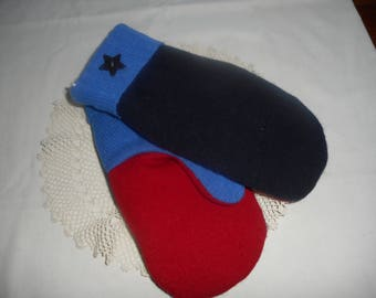 WOOL Handmade Recycled Sweater Wool Mittens.  Ladies sz LARGE Black- Blue  Bright Blue and Red OOAK