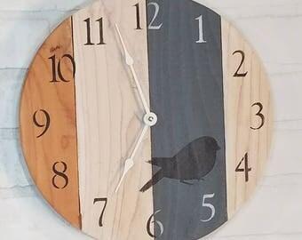 Round Wall Clock - Blue & White Bird