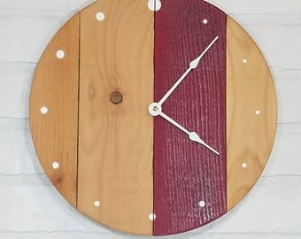 Round Wall Clock - Red Stripe