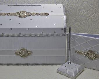 wedding Card Box, reception set, Money holder, envelope holder, silverbox, rhinestone trim, treasure chest, memory box