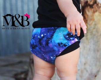 Galaxy bummies / galaxy baby / outta this world shorts / toddler shorts / baby shorts / summer outfit / tooshies / bummies