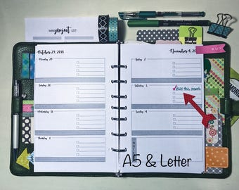 Weekly Planner Printable Pages, 2018 Dated, WO2P, A5, Letter, half page, Mo-Su, Su-Sa, Weekly Planner Inserts, Filofax, Kikki K,  TIC