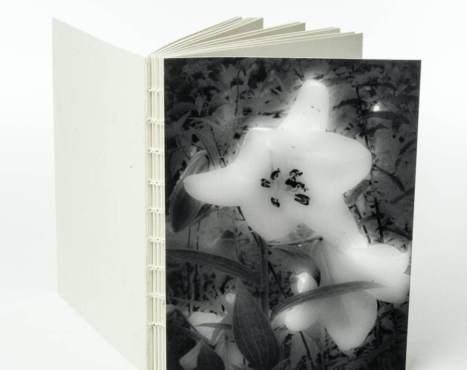 WAXY WHITE LILY | small handmade coptic bound blank book diary journal notebook original cover photo | aBoBoBook