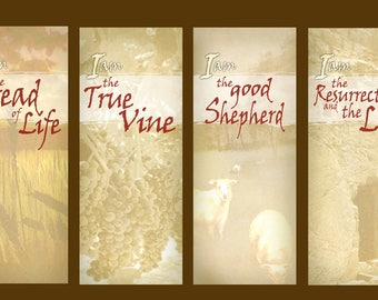 Bread / Vine / Shepherd / Resurrection  / Set of 4 Banners (G818-1)