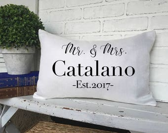 PERSONALIZED WEDDING PILLOW, Anniversary Pillow,Couple Pillow,Couple Throw Pillow,Faux Burlap,Customized Pillow,French Couple Pillow