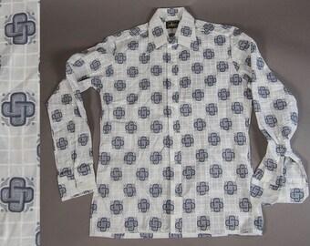 70's -80's Vintage Men's Shirt, Vintage Mens Dress Shirt, Vintage 60's  OP-ART Shirt, Vintage Mens Hipster Shirt