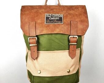 Handmade Pistachio Green backpack , organic cotton