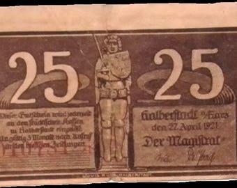 1921 Germany HARZ 25  Pnennig  Notgeld / Banknote