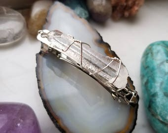 Clear Quartz Point Hair Barrette Clip for Universal Connection, Manifestation, and Healing