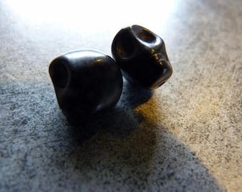 2 beads skull stone reconstituee 1 cm