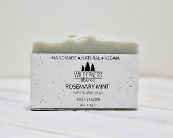 Rosemary Mint Soap, Glacial Clay Soap, Natural Soap, Vegan Soap, Palm Free Soap, Handmade Soap, Cold Process Soap