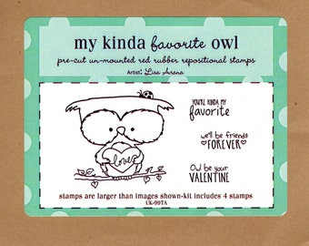My Kinda Favorite Owl by Unity Stamps 4 red rubber art stamps - artist Lisa Arana - make Valentine cards and art around your home! NIP!