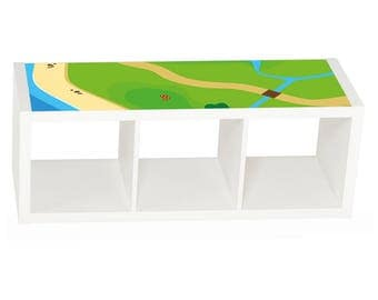 "Kids room decor: ""Playground"" Furniture sticker for IKEA KALLAX three cubes (1M-ST02-10)- Furniture not included"