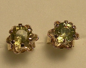 Rare! Demantoid garnet 3 mm & earrings sterling silver 925