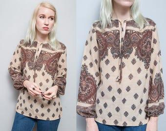 VTG 1970's I Ethnic Pattern I Boho I Tie Collar I Blouse I S
