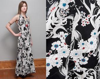 Vintage 1970's | B/W | Floral | Halter | Maxi | Dress | S
