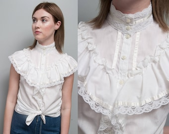 Vintage 1970's | White | Ruffled | Lace | Gunne Sax | Peasant | Blouse | M