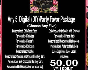 Party Favor Digital File only Packages.