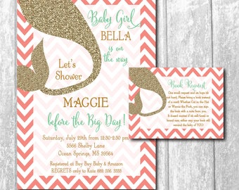 Mermaid Baby Shower Invitation printable/Digital File/Under the Sea Shower/gold, mint, coral, book request/Wording & Colors can be changed