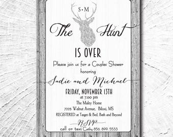 Silver Engagement Party Invitation..Hunt is Over printable/digital/antlers, wood, shower, couples, holiday, Christmas/wording can be changed