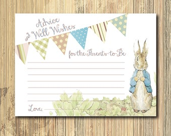 Vintage Peter Rabbit Advice Wishes Card/INSTANT DOWNLOAD/printable/Beatrix Potter, baby shower, game, wishes card, peter rabbit baby shower