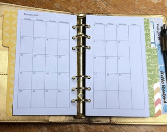Printed Personal Size Monthly Double Sided (January - June)