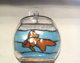 Stained glass goldfish bowl