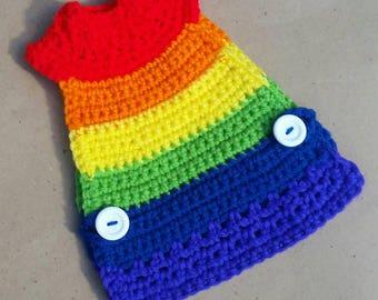 RAINBOW Chicken Sweater, Chicken Clothes, Chicken Shirt, Knit Chicken Sweater, Clothes for Pets