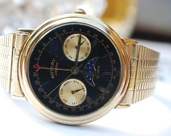 Rotary Moonphase Quartz Triple Calendar Gents Vintage Watch In Box c1990-Stunning!