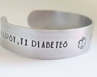 Aluminium medical ID bracelet, hand stamped diabetic cuff, epilepsy cuff bracelet, med id bracelet, medical alert bracelet, handmade