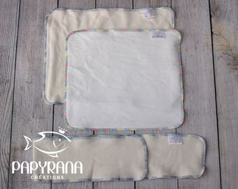 DISCOVERY KIT 3 diaper insert kit in natural fibers / Cloth diaper insert/ trifold insert/  bamboo cloth diaper insert / grow with me insert
