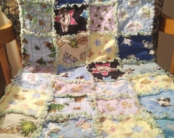 Baby rag quilt (animals)