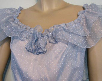1970s Gown NOS Dotted Swiss Mr. Walter Blue 1970s Garden Party NOS Prom