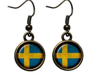Sweden Swedish Flag Earrings